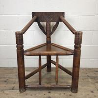 Antique Carved Oak Corner Chair