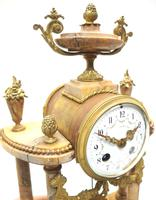 Antique 8 Day French Ormolu & Marble Mantel Clock Set with 2 Branch Candelabras (4 of 10)