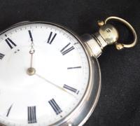Antique Silver Pair Case Pocket Watch Fusee Verge Escapement Key Wind Enamel Dial W Hollison London (6 of 9)