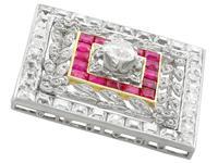 3.48ct Diamond & 0.53ct Ruby, Platinum Pendant / Brooch - Antique c.1900 (5 of 15)
