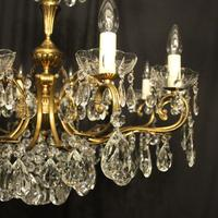 French Gilt & Crystal 12 Light Antique Chandelier Oka04051 (3 of 10)