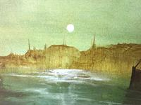 "Dutch Impressionist Oil Painting ""Amsterdam Shipping by Moonlight Illumination"" (3 of 12)"