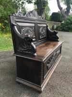 Antique English Carved Oak Hall Bench Settle (5 of 10)