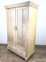 Antique Pine Two Door Wardrobe with Drawer (8 of 10)