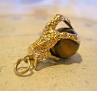 Vintage 9ct Gold Pocket Watch Chain Fob 1977 Large Talon or Claw with Tigers Eye Ball (4 of 11)