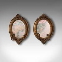 Pair of Antique Girandole Mirrors, English, Giltwood, Ovall, Wall, Regency, 1820 (2 of 10)