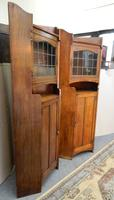 Pair of oak Arts & Crafts cabinets in the manner of Liberty (3 of 7)