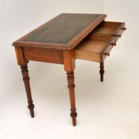 Antique Victorian Walnut Leather Top Writing Table / Desk (7 of 10)