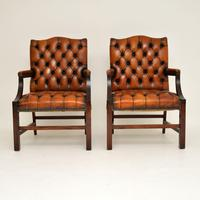 Pair of Antique Leather & Mahogany Gainsborough Armchairs (2 of 8)