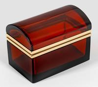Antique Bohemian Ruby Glass Casket / Box (2 of 5)