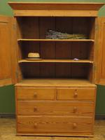 Antique Welsh Country Pine Linen Press Wardrobe in 2 Parts (3 of 17)