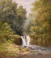 """Oil Painting Pair by William Ward Gill """"Falls at the Head of Loch Lomond"""" (6 of 8)"""