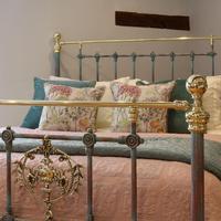 Decorative Antique Bed in Blue Verdigris (3 of 9)