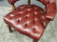 Victorian Walnut and Leather Office Chair (6 of 10)
