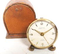 Antique Travelling Mantel Clock with Original Leather Outer Case 8-Day Mantel Clock by Looping with 7 Jewels (8 of 9)