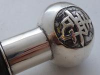 Chinese Walking Stick Cane Solid Silver Pommel Bamboo Wood Shaft c.1900 (8 of 11)