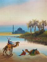Arabic School - Wonderful Early 20th Century Arabian Camels in Landscape Oil Painting (3 of 12)
