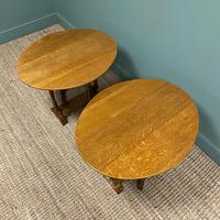 Unusual Pair of Edwardian Oak Drop Leaf Antique Sofa Tables (4 of 7)