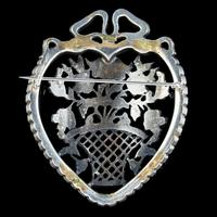 Antique Edwardian Suffragette Paste Heart & Flower Basket Brooch c.1910 (3 of 7)