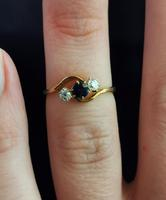 Antique Diamond & Sapphire Crossover Ring, 18ct Gold (12 of 12)