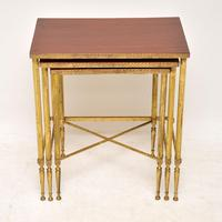 1950's Vintage Brass & Mahogany Nest of Tables (10 of 10)