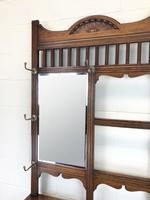 Antique Oak Arts & Crafts Mirrored Hall Stand (11 of 11)