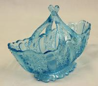 Antique Blue Glass Davidsons Basket (3 of 5)