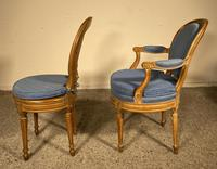 Set Of 12 Chairs And Two Armchairs Louis XVI 18th Century (6 of 11)