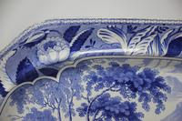 Antique Blue & White Pearlware Parkland Scenery Platter (5 of 12)