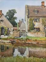 Gorgeous Early 20th Century Country River Hamlet British Landscape Watercolour Painting (3 of 12)