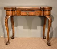 Walnut Card Table Fine Tapestry Interior (6 of 10)