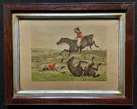 Set of Six 19thc Oak framed Humorous Coloured Sporting Hunting Engraving's (14 of 14)