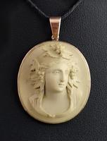 Antique Lava Cameo Pendant, 9ct Rose Gold