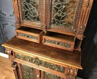 Victorian Carved Oak Secretaire Bookcase (14 of 25)