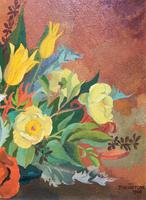 Stunning Original 1960s Vintage / Retro Floral Still Life Oil on Canvas Painting (4 of 11)