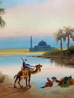 Arabic School - Wonderful Early 20th Century Arabian Camels in Landscape Oil Painting (4 of 12)