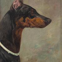 Wilhelm Westerop, Portrait of a Doberman, Oil Painting (6 of 10)