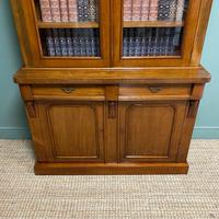 Quality Victorian Mahogany Glazed Antique Bookcase on Cupboard (8 of 9)