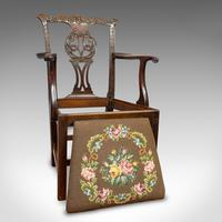 Antique Carver Chair, English, Mahogany, Needlepoint, Elbow, Chippendale Style (5 of 12)