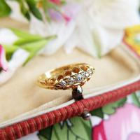 Edwardian 18ct Yellow Gold Five Old Cut Diamond Ring, Antique 1905-1906 (6 of 8)