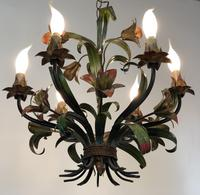 French Large 6 Arm Floral Toleware Chandelier Ceiling Light (4 of 8)