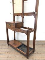 Antique Oak Arts & Crafts Mirrored Hall Stand (5 of 11)