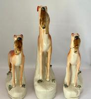 Superb Trio of Staffordshire Whippets c.1850 (10 of 13)