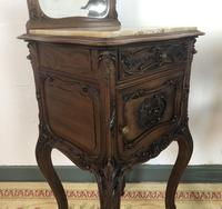Antique French Walnut Bedside Cabinets Marble Tops & Mirrors Pot Cupboards (15 of 16)