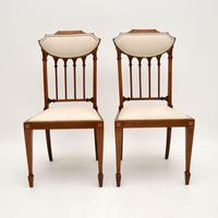 Pair of Antique Edwardian Inlaid Mahogany Side Chairs (2 of 10)
