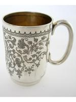 Late Victorian Hand Engraved Silver Christening Mug with Gilt Interior (2 of 7)