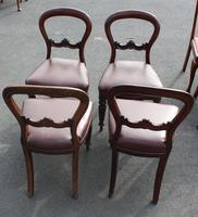 1900's Mahogany Set 4 Balloon Back Dining chairs Leather Seats (3 of 3)