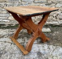 Antique Swedish Pine X-frame Trestle Table (16 of 21)
