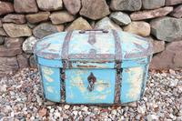 Scandinavian / Swedish 'Folk Art' Travel chest in blue paint and ironwork, 18th Century