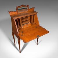Small Antique Ladies Writing Desk, French, Oak, Bureau, Mirror, Victorian c.1900 (8 of 12)